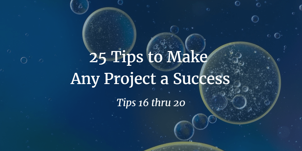 25 tips to make any project a success tip 16-20